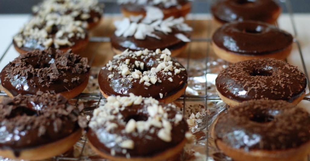 vanilkové donuts s čokoládou